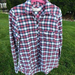 Plaid abercrombie kids button up shirt